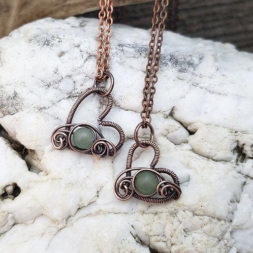 Green Aventurine Copper Heart Pendant
