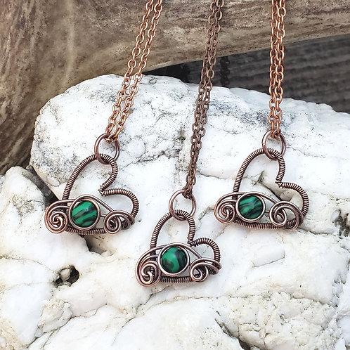 Malachite Copper Heart Pendant
