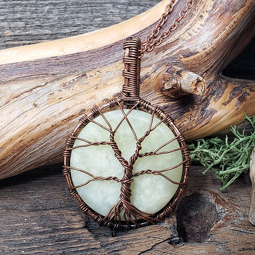 Tree of Life Serpentine Gemstone Pendant, Wire Wrapped Jewelry, Handmad