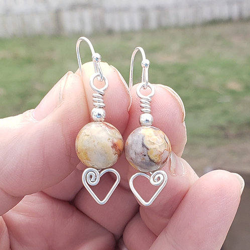 Crazy Lace Agate Heart Earings, Wire Wrapped Jewelry, Handm