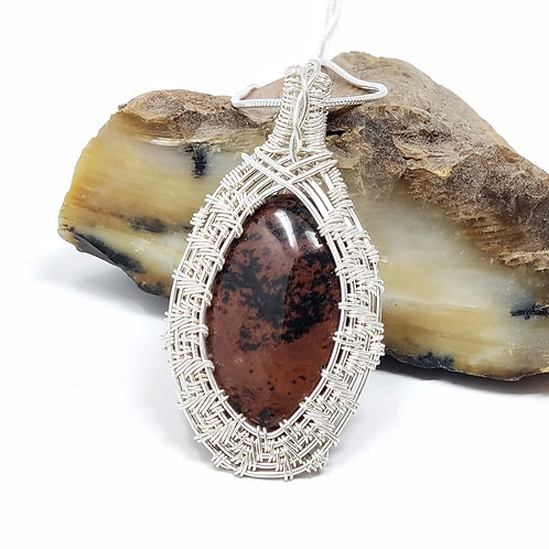 Red Mahogany Obsidian Pendant, Wire Wrapped Jewelry, Handmade