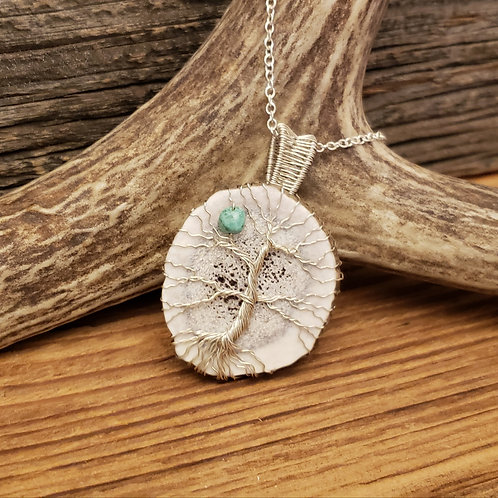 Elk Antler Tree of Life with a Turquoise Pebble
