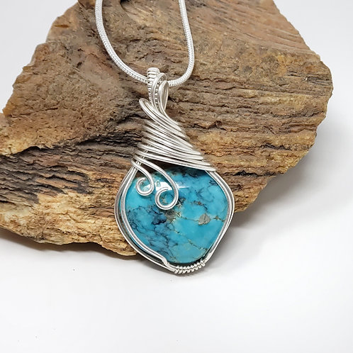 Genuine Turquoise Pendant, Wire Wrapped Jewelry, Handmade