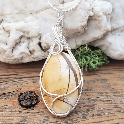 Brecciated Mookaite Stone Pendant, Wire Wrapped Necklace