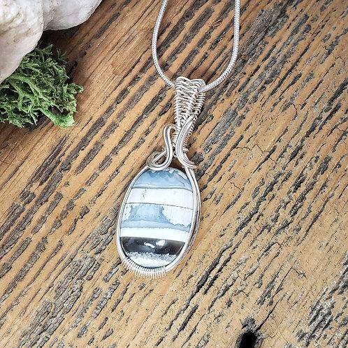 Owyhee Blue Opal Gemstone Pendant, Wire Wrapped Jewelry, Handmade