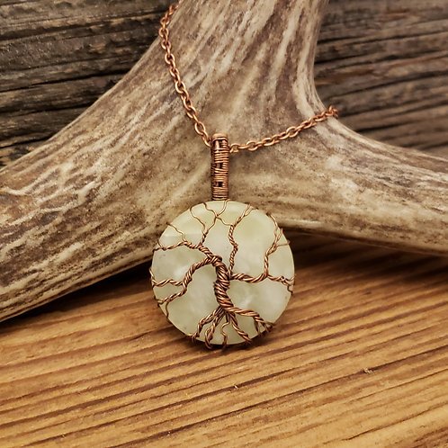 Copper Tree of Life on a Serpentine Cabochon