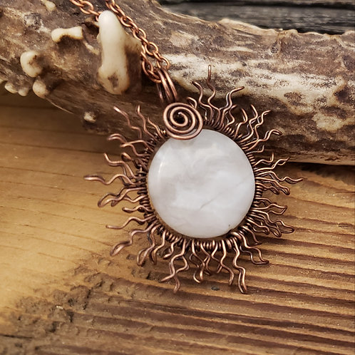 Copper Wire Sun, Eclipsed by a Crazy Lace Agate Full Moon