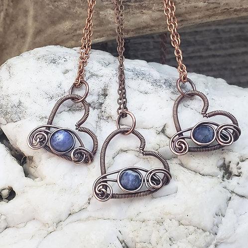 Blue Sodalite Copper Heart Pendant