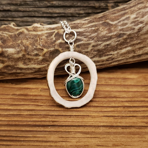 Elk Antler with Wire Wrapped Malachite Cabochon