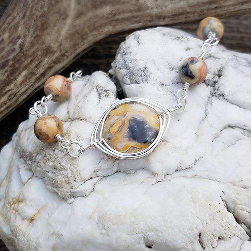 Crazy Lace Agate Bracelet, Wire wrapped Herringbone Pattern