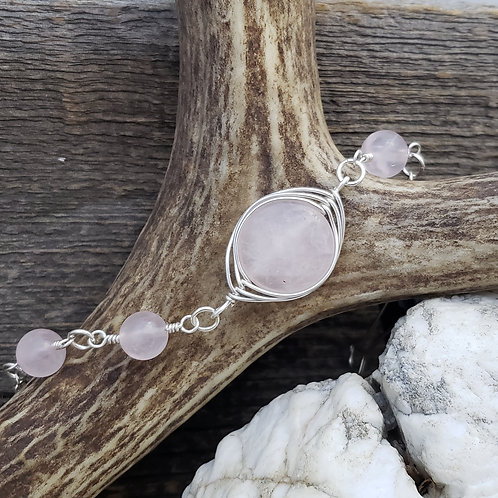 Rose Quartz Bracelet, Wire wrapped Herringbone Pattern