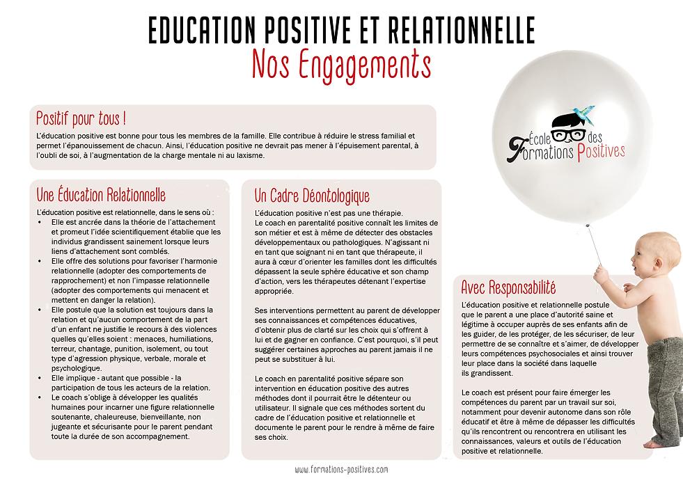 Engagements et valeurs de l'école des formations positives