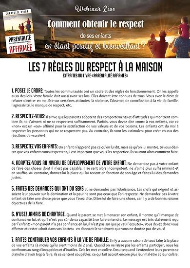 Les 7 règles du respect à la maison