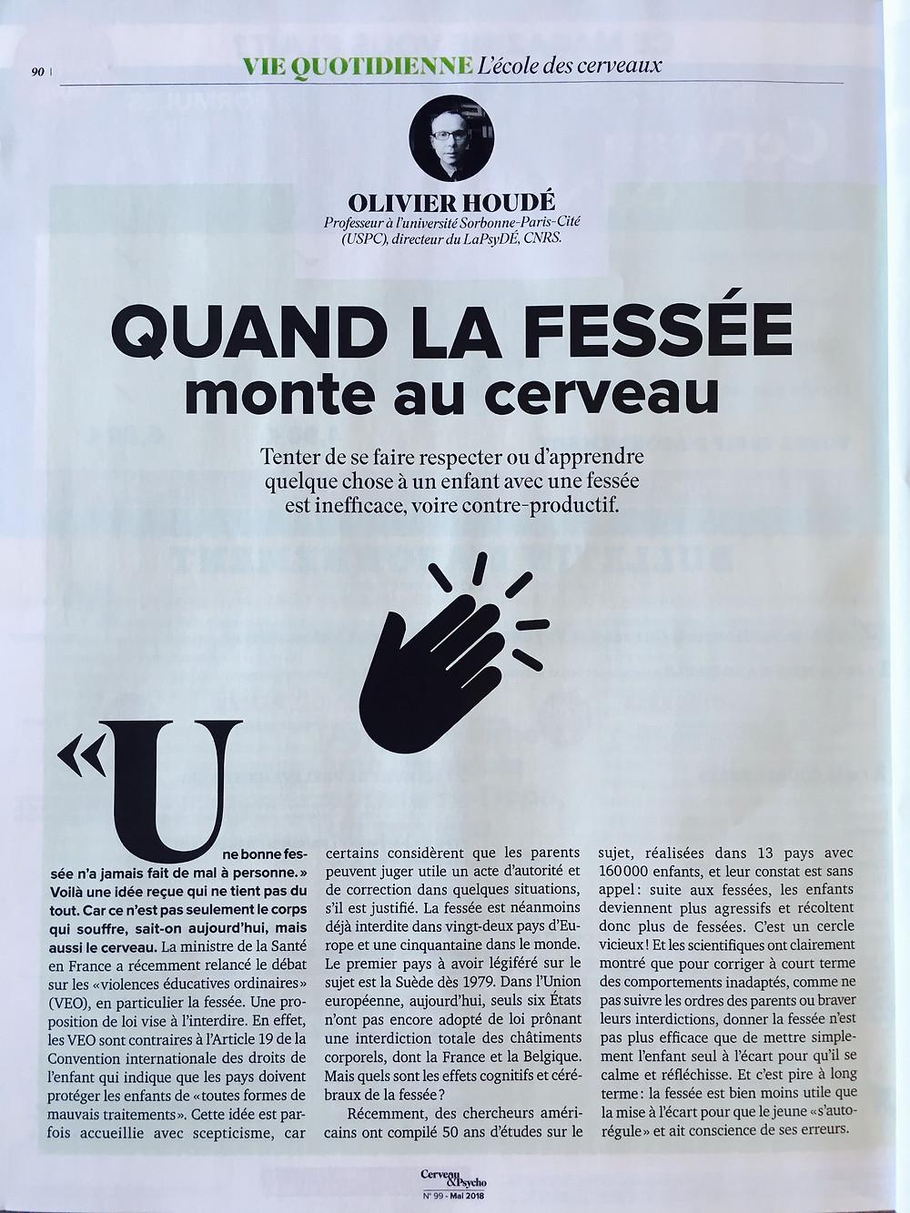 Quand la fessée monte au cerveau - Cerveau&Psycho 99 - Olivier Houdé