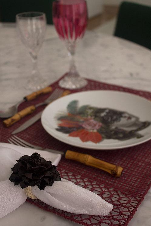 Conjunto de porta guardanapos de palha de ouricuri feito à mão