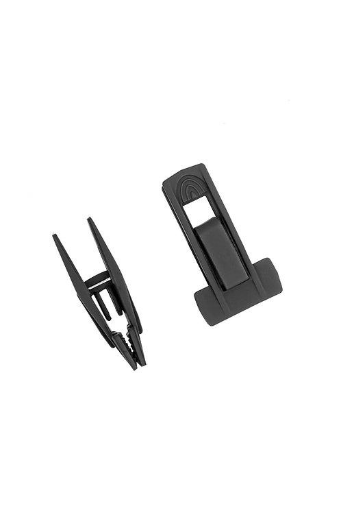 Kit com 8 presilhas (4 pares) para cabide emborrachado preto