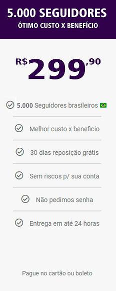 5.000 seguidores reais e brasileiros do