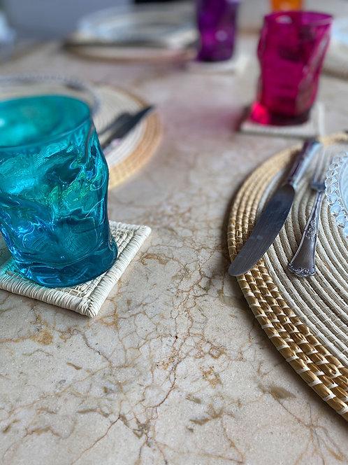 Conjunto de porta copos palha ouricuri feito à mão