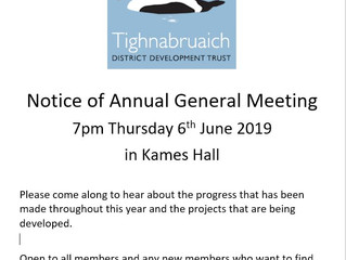 AGM in Kames Hall Thursday 6th June 2019
