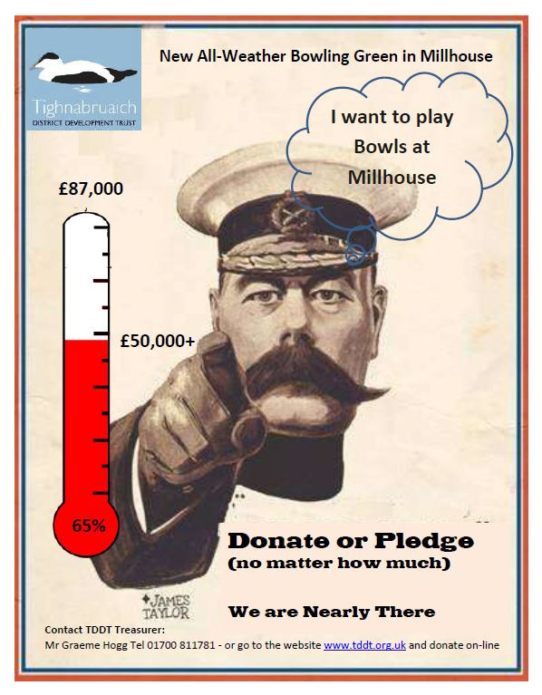 The support to fund The New All Weather Bowling Green at Millhouse has now reached two thirds of the total required. We need £87000 to bring this exciting new facility to the area. Your help to get us over the line would be greatly appreciated. Application forms are available at the Heritage Centre or online at tddt.org.uk.
