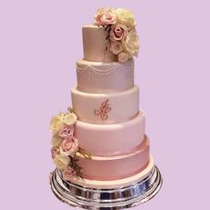 Five Tier Pink Wedding Cake