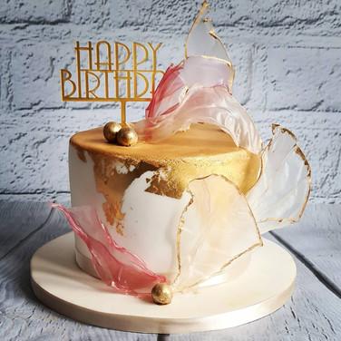 Gold Pink Sail Cake