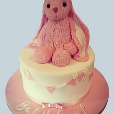 Pink Bunny Baby Shower Cake