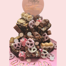 Pink Brownie Stack Cake