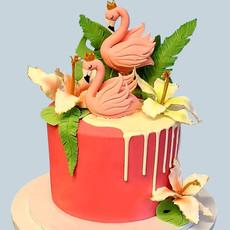 Pink Famingo Drip Cake