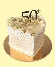 Gold Heart Anniversary Cake