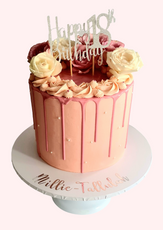 "Pink Rose Drip Cake  7"" Vanilla sponge £99"