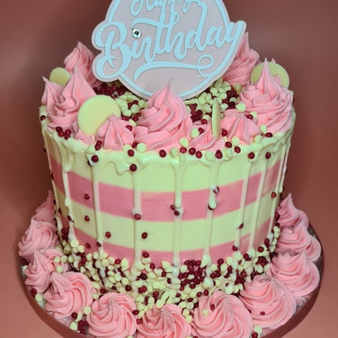 Pretty Pink Stripe Cake