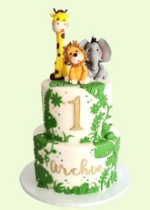 "Animal Safari Cake  5"" & 7"" Vanilla sponge £199"
