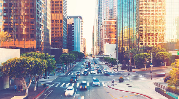 View of Los Angeles rush hour traffic in