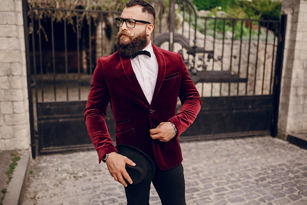 velvet blazer, beard man, dress to impress, styling