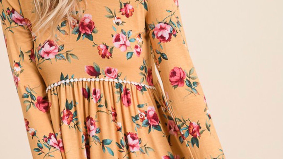 Floral Babydoll Top (Yellow)