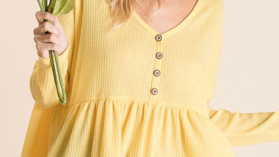 Waffle Knit Babydoll Top (Yellow)