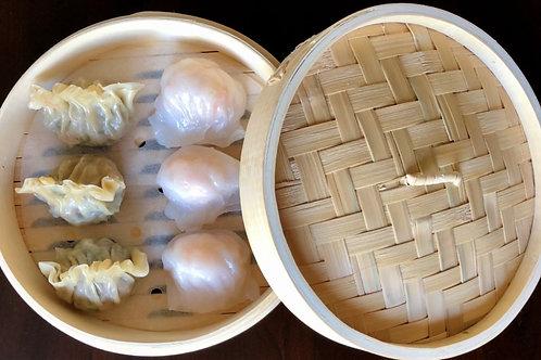"8"" Premium Bamboo Steamer Basket & Lid (dumplings not included)"
