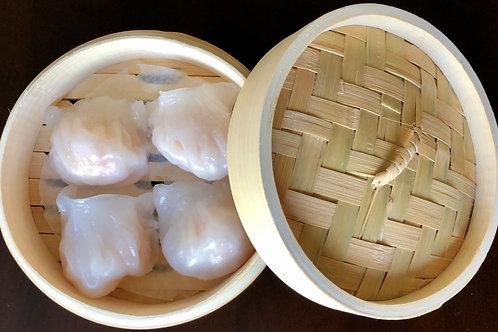 "6"" Premium Bamboo Steamer Basket & Lid (dumplings not included)"