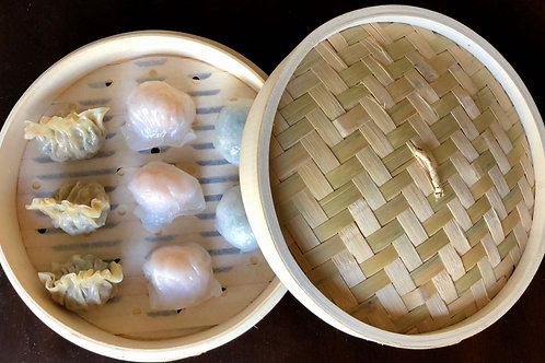 "10"" Premium Bamboo Steamer Basket & Lid (dumplings not included)"