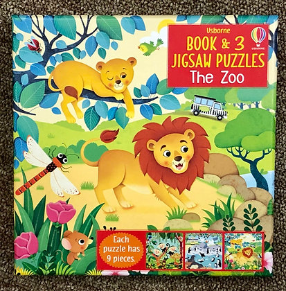 The Zoo - Book & 3 Jigsaw Puzzles (9 pieces each)