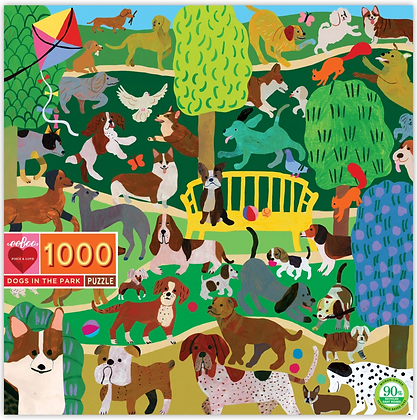 Dogs In The Park - 1000 Piece Puzzle by eeBoo