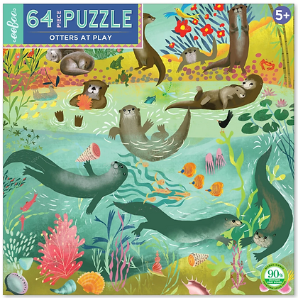 Otters at Play - 64 Piece Puzzle by eeBoo