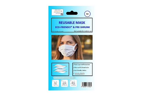 Cotton Mask- Pack of 5, White