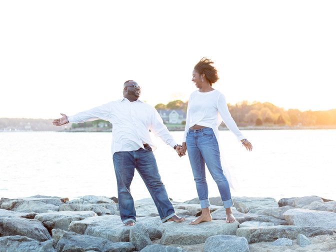 oakland beach sea wall engagement session | warwick, rhode Island