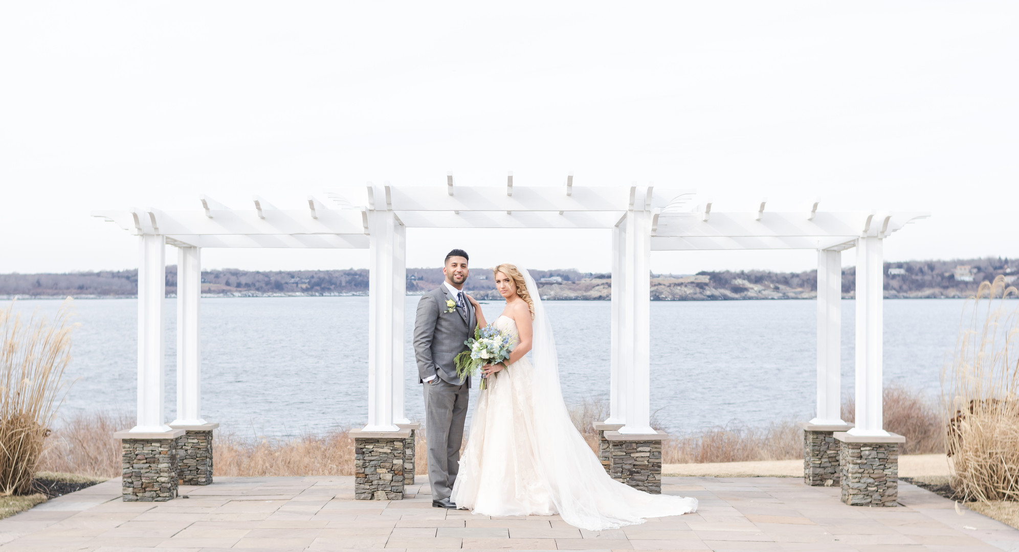 Oceancliff Hotel bride and groom at wedd
