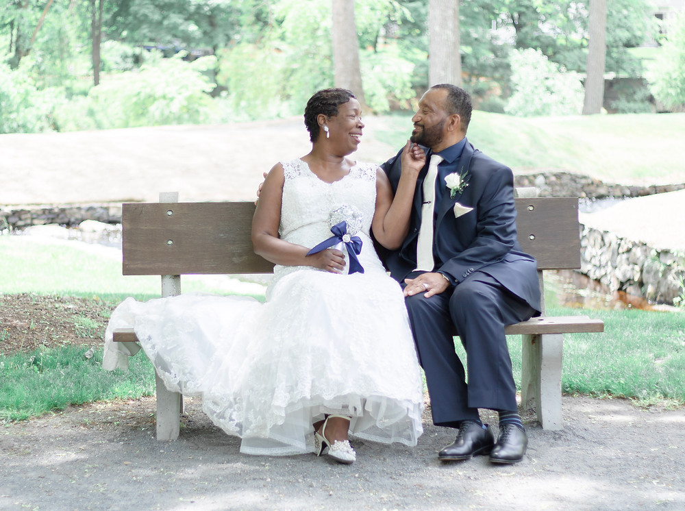 Donna & Terrance share laughs during their cocktail hour photos at War Memorial Park in West Bridgewater