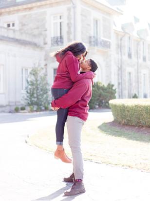 happy couple in Aldrich Mansion Engageme