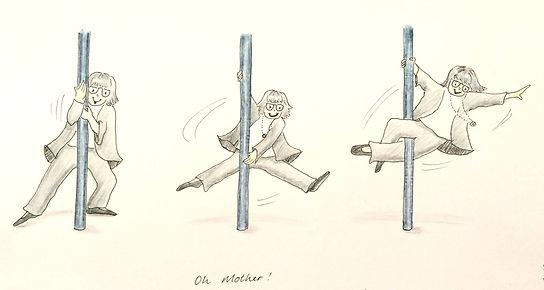 An original Mel Barren cartoon of a pole dancing Grandma
