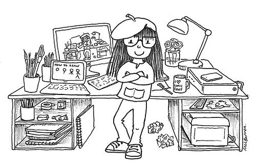Cartoon of Mel Barren artist and designer at her desk
